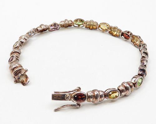 925 Sterling Silver - Vintage Multi-Color Gemstones Tennis Bracelet - B2679