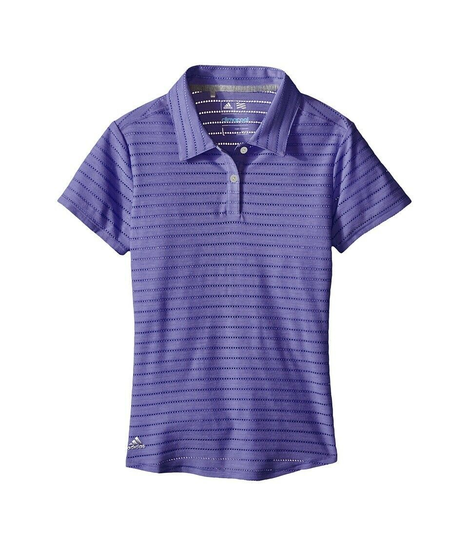 Primary image for Adidas Golf Climacool Womens Cottonhand Mesh-Striped Polo Shirt Baja Blue XS