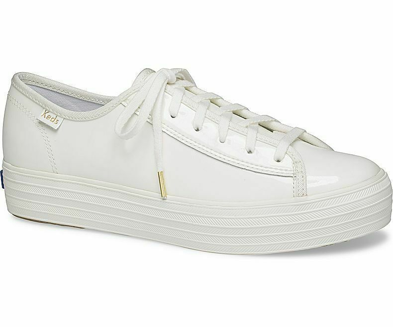 Keds WH58976 Women's Triple Kick Patent White Shoes, 10 Med