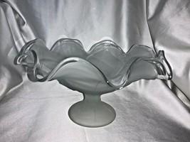 Vintage Viking Glass Crystal Satin Pedestal Wavy Edge Large Compote - $65.00