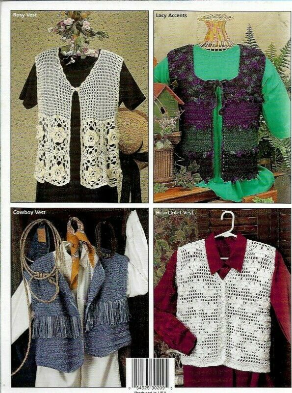 Weekend Vests to Crochet House of White Birches 101094 6 Quick Stitch Vests - $6.23