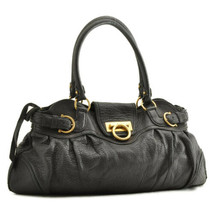 SALVATORE FERRAGAMO Leather Gancini Hand Bag Black Auth 9732 - $160.00