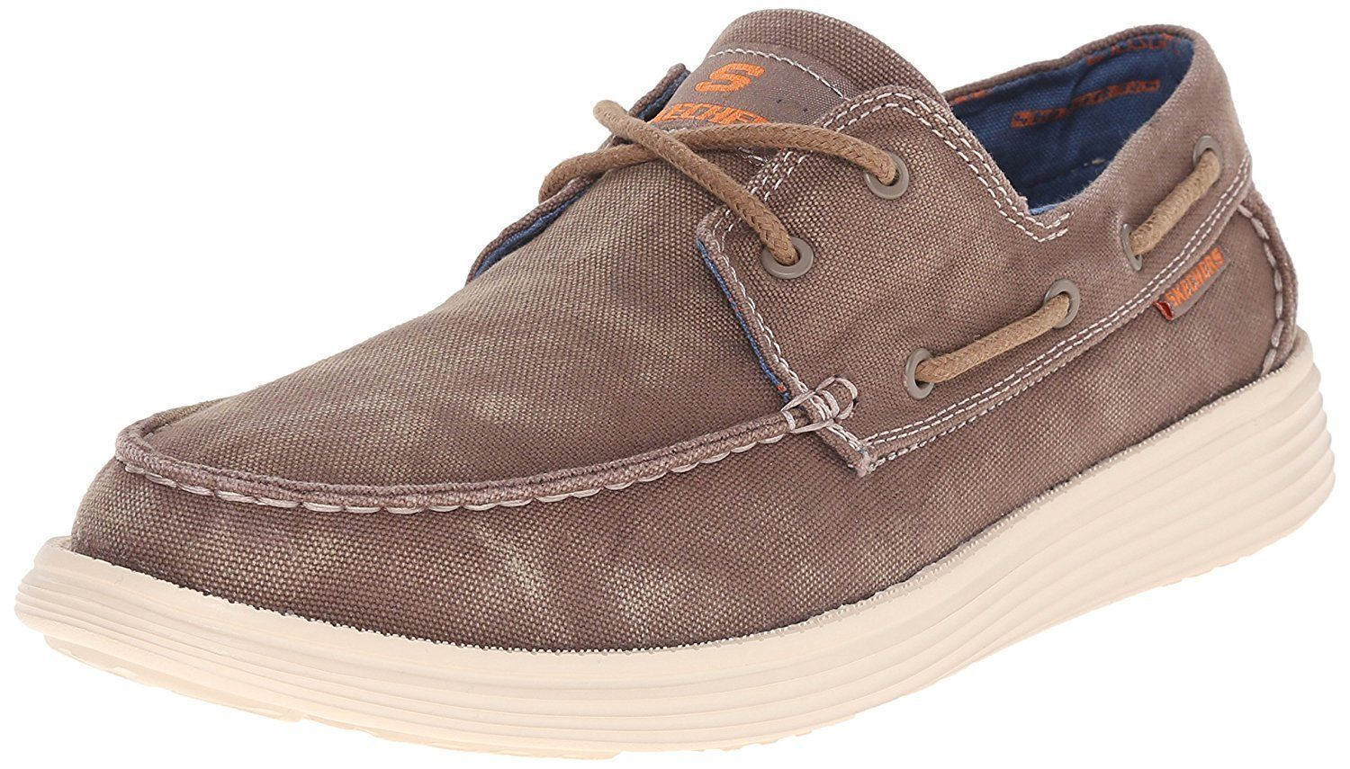 NEW Skechers MenCanvas Boat Shoe Vintage washed Blue & Brown  PK SIZE AND COLOR