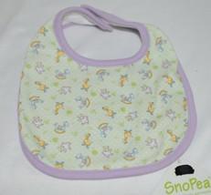 SnoPea Baby Unisex Bib Snap Closure Purple Green Animal Design image 1