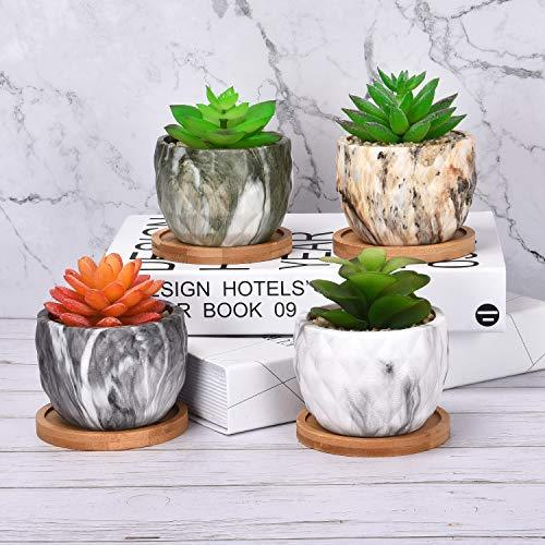 3.5 Inch Ceramic Succulent Pot, Modern Marbling Succulent Plant Pots with Bamboo