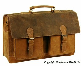 Handmade Leather Vintage Unisex 17'' Leather Laptop Messenger For Men An... - $87.94