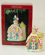 Carlton Cards GINGERBREAD FARM Christmas Ornament chickens cow barn in Box  - $19.99