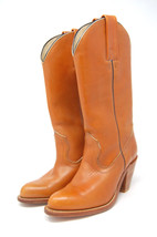 FRYE women cowboy western boots cognac stacked heel pull on size 5.5 - $54.50