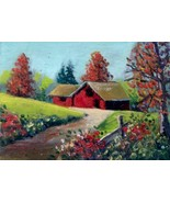 Red Barn & Flowers Original Aceo Oil painting SFA ATC Sketch card miniature - $5.00