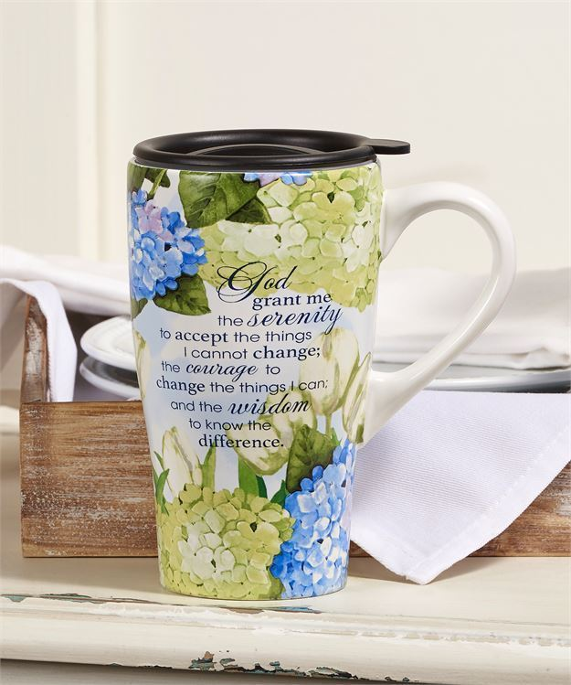 Serenity Prayer Sentiment Design Ceramic Travel Mug 14 oz with Lid
