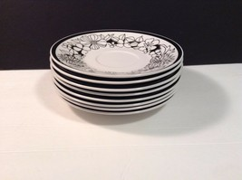 Mikasa Cera Stone Bouquet a2037-bk Lot of 8 Saucers black White Floral Lovely - $21.09