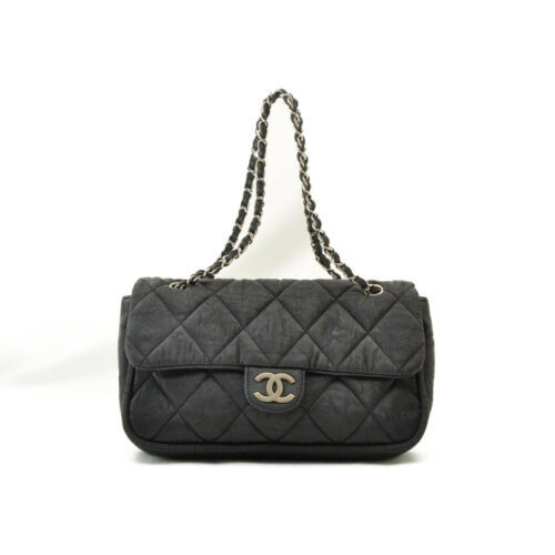 CHANEL Nylon Matelasse Chain Shoulder Bag Black Auth 9576 **Powder image 2