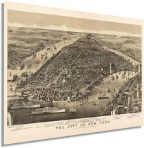 1886 Map of New York City Poster - NYC Vintage Map Wall Art - Panoramic Birds Ey - $34.99+