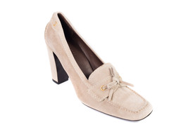 Prada Car Shoe Womens Beige Suede Tie Square Toe Pumps Size 38.5/8.5~RTL... - $213.75
