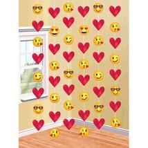 Emoji Hearts Valentine's Day 6 Ct 7 ft Doorway String Decoration - £4.66 GBP