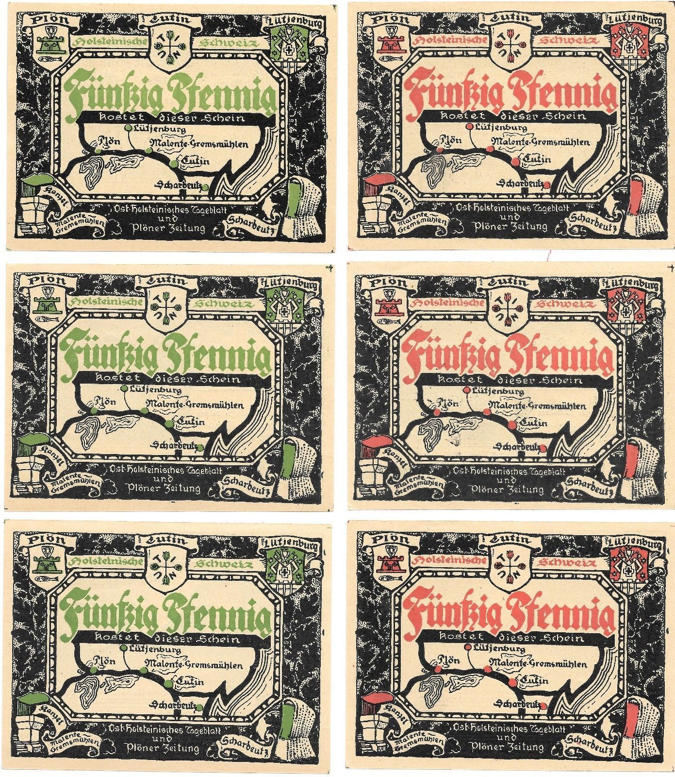 Germany 5 Towns 10 Notes Notgeld Set Unc~Eutin~Plon~Lutienburg~Scharbeutz~More~ - $17.92