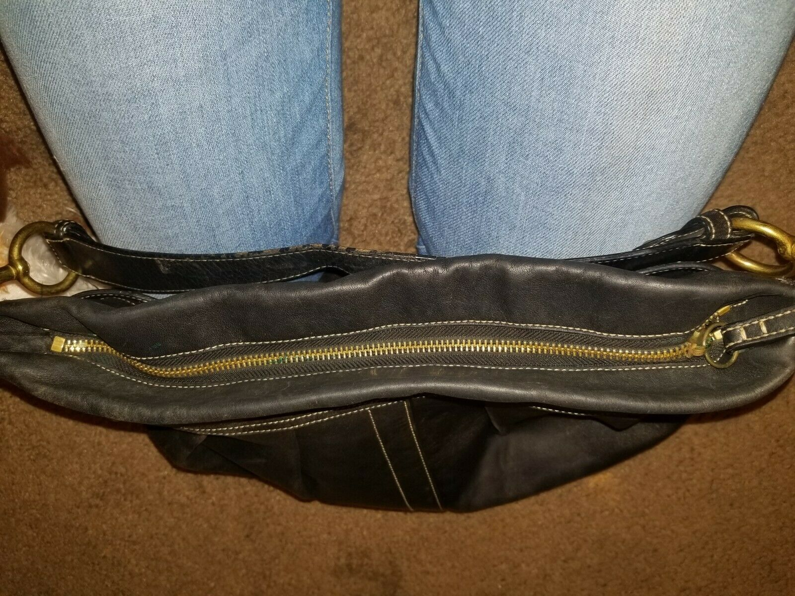 Authentic Coach Black Coach Ergo Pleated Leather Hobo Bag. No.#H05S-8B16.