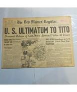 Des Moines Register 1946 August 22 U.S. Ultimatum to TITO Stop Reds Pupils TL - $49.99