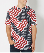 Short sleeve red white and blue hooded top - $14.50