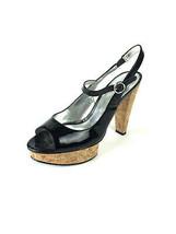 "Sz 8/EU 38 Jessica Simpson ""Beve"" Black Patent Leather Slingback Platfor... - $38.61"