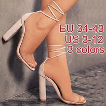 New Fashion women shoes hot lace up ankle strap Transparent high heels shoes Plu