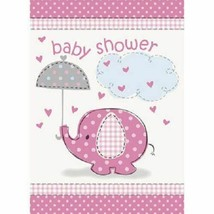 Umbrella Elephant Pink Girl Baby Shower 8 Invitations with Envelopes - $2.96