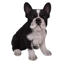 Pacific Giftware PT Realistic Look Statue Black White French Bulldog Pup... - $24.74