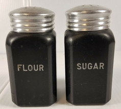 1930s 40s Hazel Atlas Fired On Black Milk Glass Range Size Flour & Sugar Shakers - $89.96