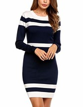Beyove Women's Round Neck Color Block Slim Knit Sweater Fit Mini Sheath ... - $36.78