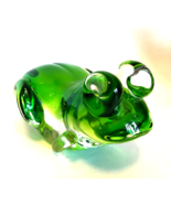 Green Glass Frog Large Paperweight Figurine Hand Blown 7 inches Long  - $68.30