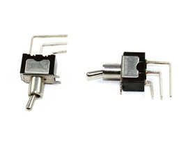 Miniature Toggle SPDT ON-ON switch, PCB mount. Rating: 6A, 125VAC - Lot of 5 - $7.55