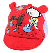 Red Bear Baby Beret Toddler Sun Protection Hat Infant Floppy Cap (0-2Y) image 2