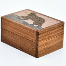 Northwoods Wooden Parquetry Black Bear Country Rustic Cabin Mini Trinket Box image 3