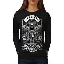 Street Skeleton Skull Tee  Women Long Sleeve T-shirt - $14.99