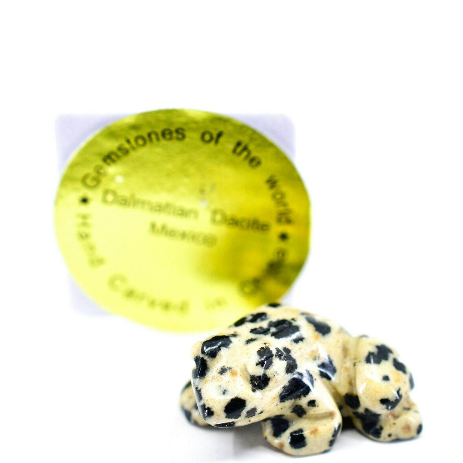 Dalmatian Dacite Gemstone Tiny Miniature Spotted Frog Figurine Hand Carved China