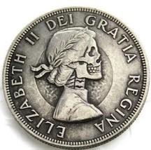 New Hobo Nickel 1962 Canada Elizabeth Skull Skeleton Casted Coin - $11.39