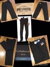 NEW! Croft & Barrow Classic Dress Pants 38 X 32 Black Flat Front Retail ... - $15.83