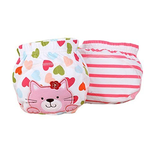Lovely Pink Cat Baby Elastic Cloth Diaper Cover (M, 9-11KG)