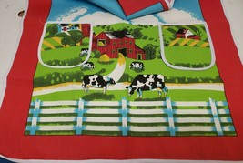 "Printed Kitchen Cotton Apron, 24""x31"", w/2 pockets, COWS AT THE FARM,Amb... - $14.84"