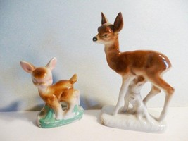 Vintage 2 Porcelain Deer Fawn Bambi figurines statues - $15.84