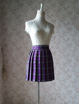PURPLE PLAID SKIRT Women School Girl Pleated Skirt Mini Plaid Skirt New US0-US16 image 2