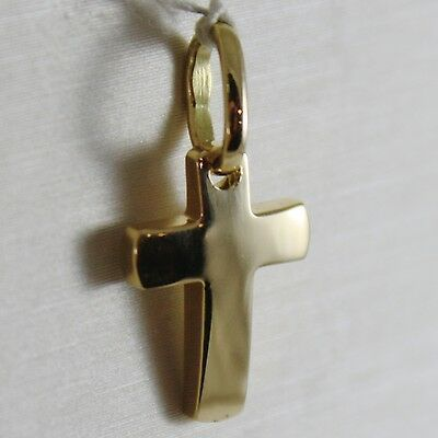 18K YELLOW GOLD MINI CROSS SQUARED ARCHED, SMOOTH, LUMINOUS, MADE IN ITALY