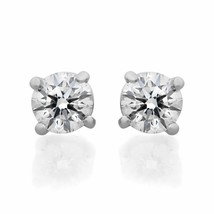 Tiffany & Co Platinum Round Diamond Solitaire Stud Earrings 1.00cts - $5,999.00