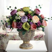 Zinmol 8 heads/Bouquet Big Elegant Artificial Peony Silk Flowers Floral ... - $15.00