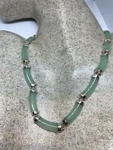 Vintage Green Jade Necklace 925 Sterling Silver Deco - $147.13