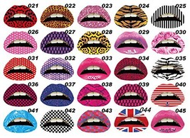10 Pieces Decorative Fashion Art Temporary Lips Tattoo Sets, Random Color