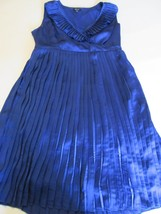 Apt. 9 Women's Dress SZ Medium All Blue Pleaded Collar & Bottom Sleevele... - $16.99