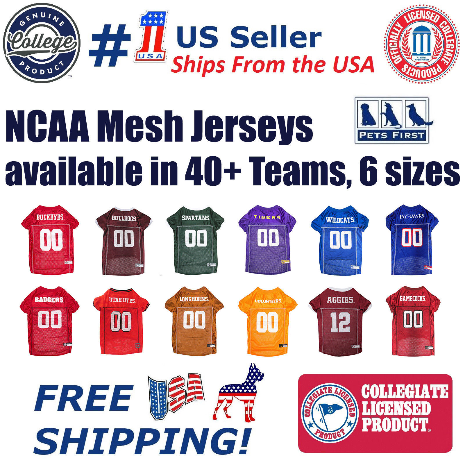 Primary image for NCAA Football/Basketball Mesh Jersey for Pets. available in 40+ Teams & 6 Sizes
