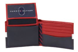 Tommy Hilfiger Men's Leather Wallet Passcase Billfold Rfid Red Navy 31TL220053 image 7