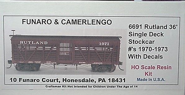 Funaro & Camerlengo HO Rutland Single Deck Stock Car #1970-1974,  Kit 6691